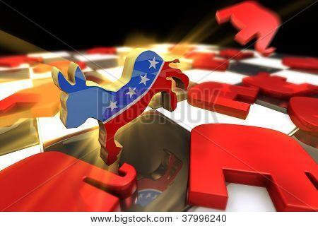 Democrat Symbol Kicks Republican Symbol
