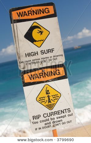 Surf And Currents Warning Sign