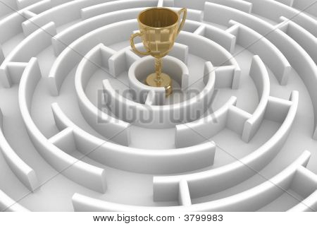 White Circle Labyrinth With Cup. 3D Image.