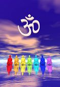 pic of tantra  - Seven human with chakra colors meditating below an aum in blue and pink background - JPG