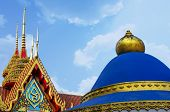 image of isosceles  - Roof of Church in Buddhism under Clear Blue Sky - JPG