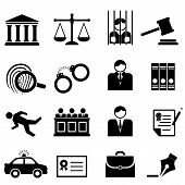 stock photo of handcuff  - Legal law and justice icon set in black - JPG
