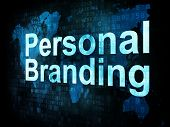 Marketing concept: pixelated words Personal Branding on digital