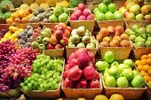 stock photo of flavor  - Fresh fruits for sale in farmers market