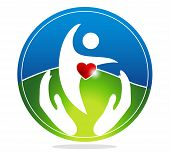 image of heartbeat  - Healthy human and healthy heart symbol - JPG