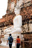 Monuments Of Sitting  Buddah Wat Yai Thailand poster