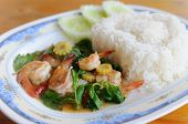 Thai Food. Rice And Shrimp With Sweet And Spicy Sauce, Stir And Serve With Rice poster