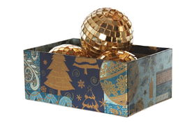 foto of parallelepiped  - Xmas balls in the parallelepiped new year box on the white background - JPG