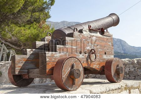 Antique cannon at old fortress
