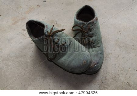 Pair Of Moldy Shoes Damaged By Storage In A Damp Basement