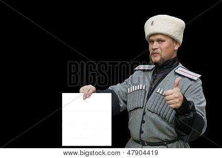 Young man in a cossack clothes with Thumb Up