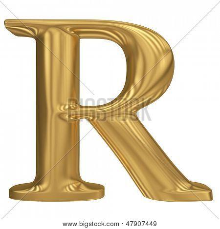 Golden letter R. Gold solid alphabet, high quality 3d render