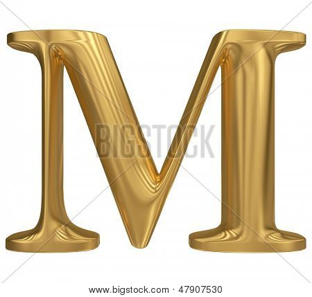 Golden letter M. Gold solid alphabet, high quality 3d render
