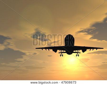 Concept of conceptuele zwart vliegtuig, vliegtuig of luchtvaartuig silhouet vliegen over hemel bij zonsondergang of sunr