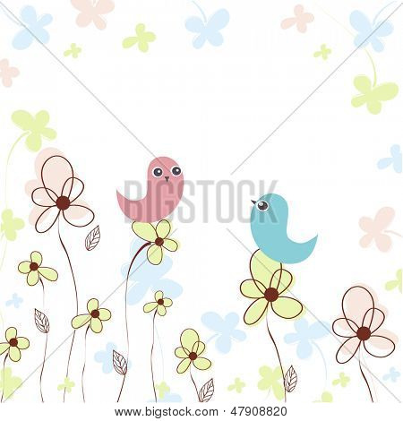 Cute birds on the flowers