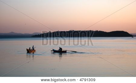 Fishermen At Lake Trasimeno