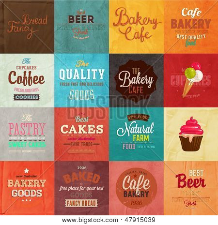 Set of retro bakery label cards for vintage design, old paper textures background