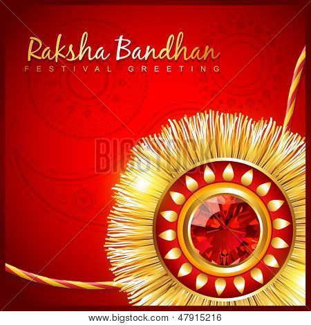 beautiful hindu festival rakhi on red background
