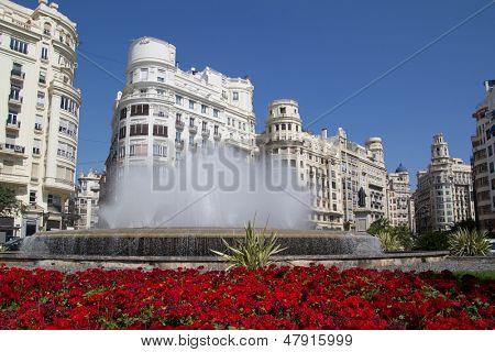 The Valencia, Spain Fountain in the main square.