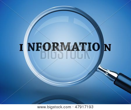 Magnifying glass showing information word on blue background