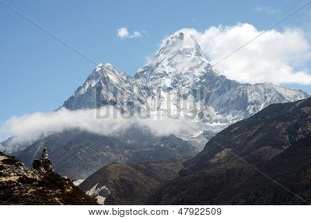Summit Of Ama Dablam Mountain - third most popular Himalayan peak for permitted expeditions,Nepal