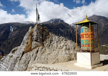 Buddhist Mani Stones Prayer Wheels With Sacred Mantras Near Namche Bazaar,capital Of Sherpas,Nepal