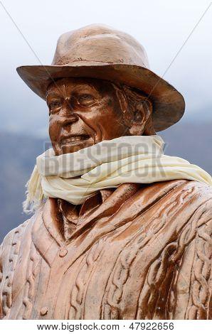 Statue of Sir Edmund Hillary in Khumjung village,Everest region,Nepal
