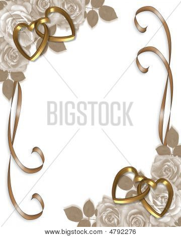 Sepia Roses Gold Hearts Invitation
