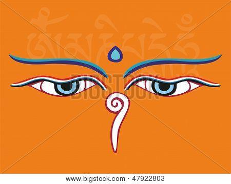 Buddha Eyes Or Wisdom Eyes - Holy Asian Religious Symbol, Vector Illustration