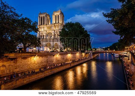 Notre Dame De Paris Cathedral And Seine River In The Evening, Paris, France