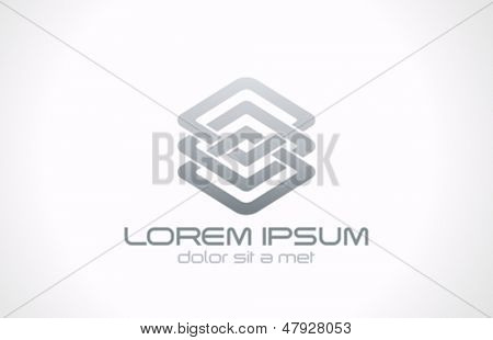 Abstract looped metal logo vector design template. Business technology loop concept. Infinite icon
