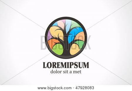 Colorful Tree vector logo design template. Stained glass style. Creative concept icon.