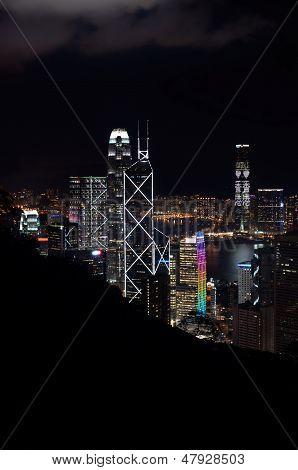 Elevated view of Hong Kong skyscrapers lit up at night, Hong Kong Island
