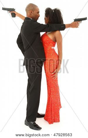Beautiful Sexy Black Couple with Handguns Over White