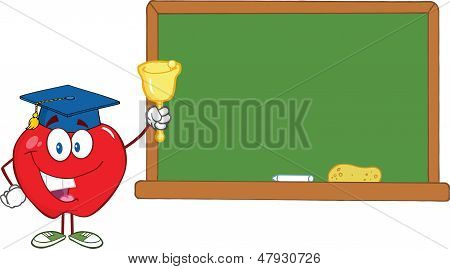 Apple Character Ringing A Bell For Back To School In Front Of Chalkboard