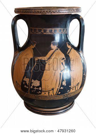 Antiguo jarrón griego expuesta en el Museo