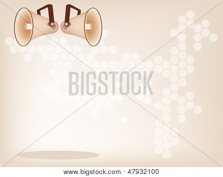 Two Beautiful Megaphone On A Brown Background