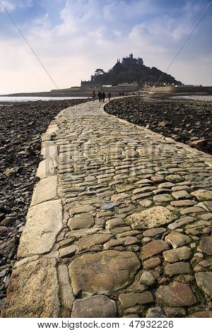 Landscape of Path revealed at low tide to St Michael's Mount from Marazion Cornwall England