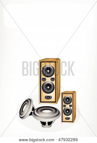 Audio Speaker And Computer Speaker With A White Banner