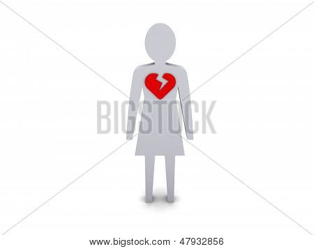 Woman with broken heart. Concept 3D illustration.