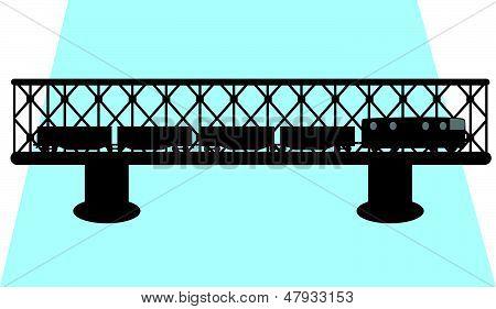 Bridge And Train Silhouette Vector