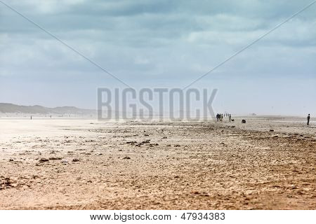 Ethereal Landscape Of A Beach During Sand Storm
