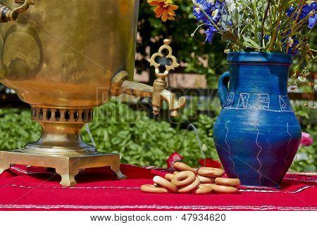 Samovar And Vase On A Summer Day