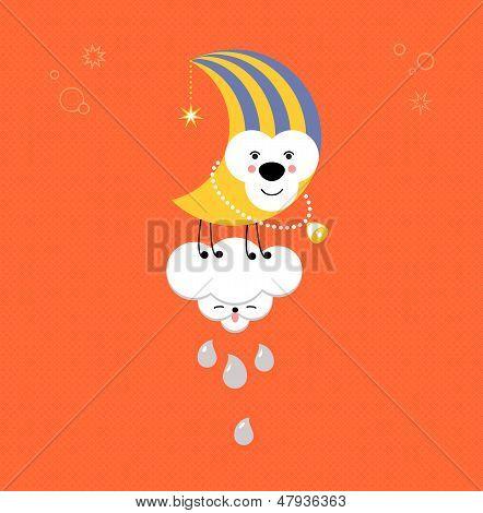 Moon And Cloud In The Sky. Cute Kawaii Animalistic Cartoon Characters. Eps 10 Vector