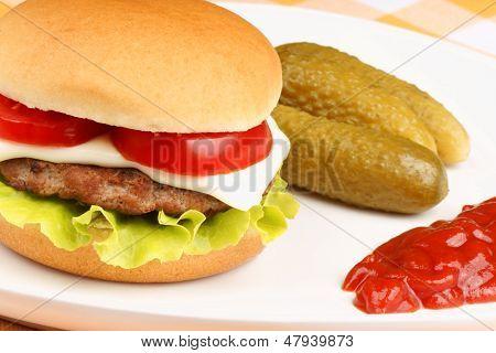 Mini Cheese Burger Closeup
