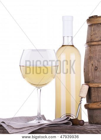 barrel with corkscrew, butterfly and wine glass