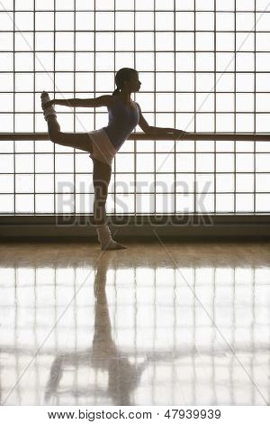Full length of young ballerina practicing at rehearsal