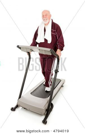 Fit Senior Man On Treadmill
