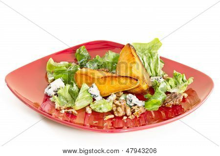 Salad With Caramelised Pears,walnuts And Blue Cheese, On Red Plate, Isoalted