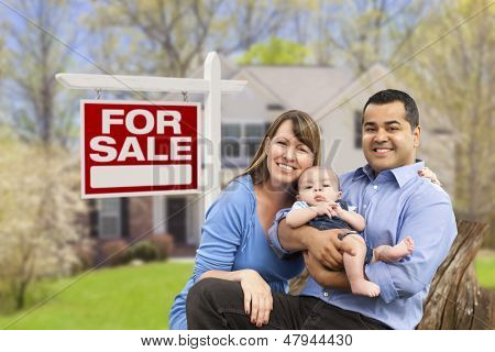 Happy Couple in Front of For Sale Real Estate Sign and New House.
